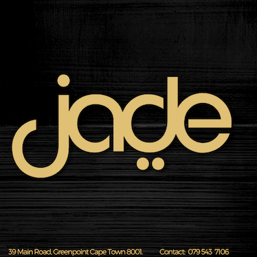 The word jade in gold-brown & lower-case on a black background, with the address and contact number at the bottom.