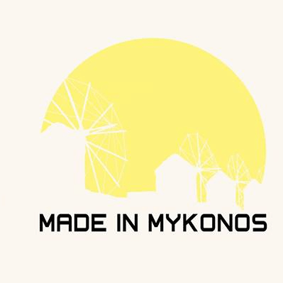 The words 'Made in Mykonos' are captions to a yellow circle - sun like - with the windmills of mykonos outlined
