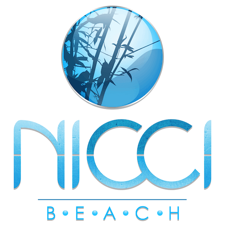 Nicci Beach logo, blue words with a bamboo in a circle above it.