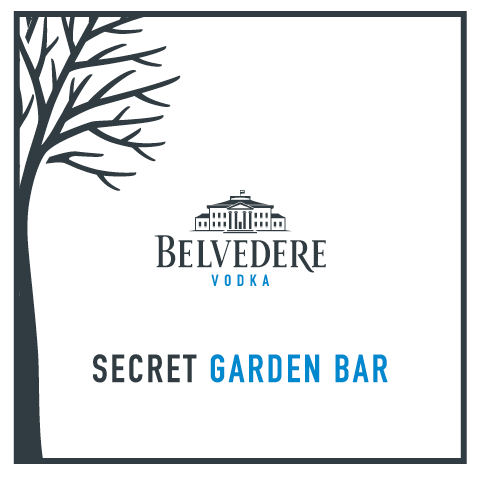 Belvedere logo in the centre. Underneath the words Secret Garden Bar all framed with a tree and border.